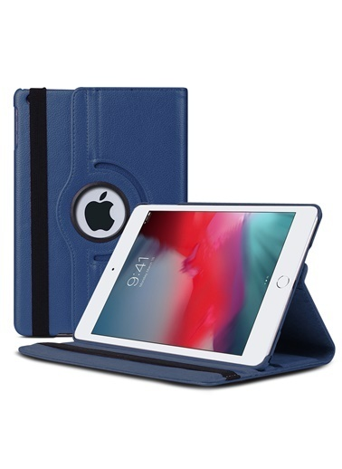 Microsonic Apple iPad Mini 5 7.9'' 2019 (A2133-A2124-A2125-A2126) Kılıf 360 Rotating Stand Deri Lacivert Lacivert